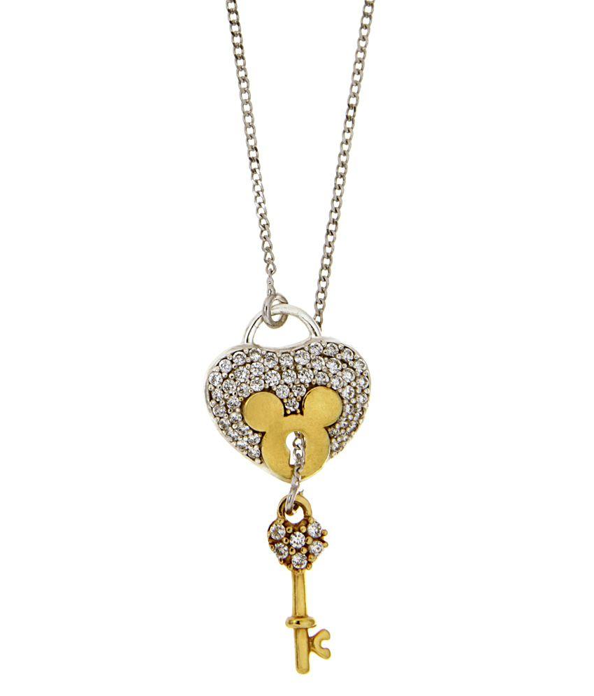 Disney Micron Silver & Gold Plated Mickey & Minnie Neckalce