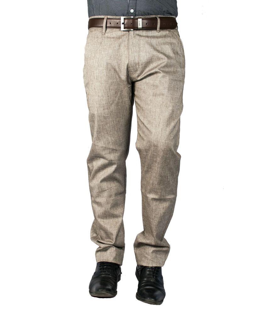 FBM Brown Cotton Lycra Formal Trouser For Men