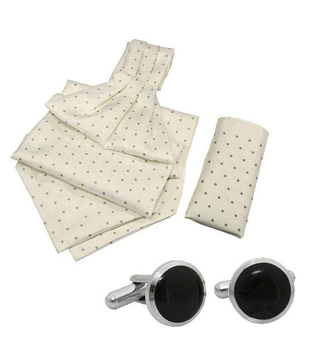 Orosilber Grey Dots On White Cravat and Pocket Square Set with Cufflinks