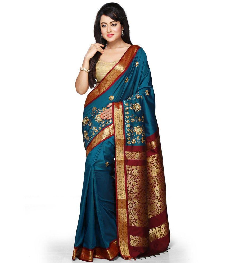 Pratami Blue Art Silk Chettinad Saree