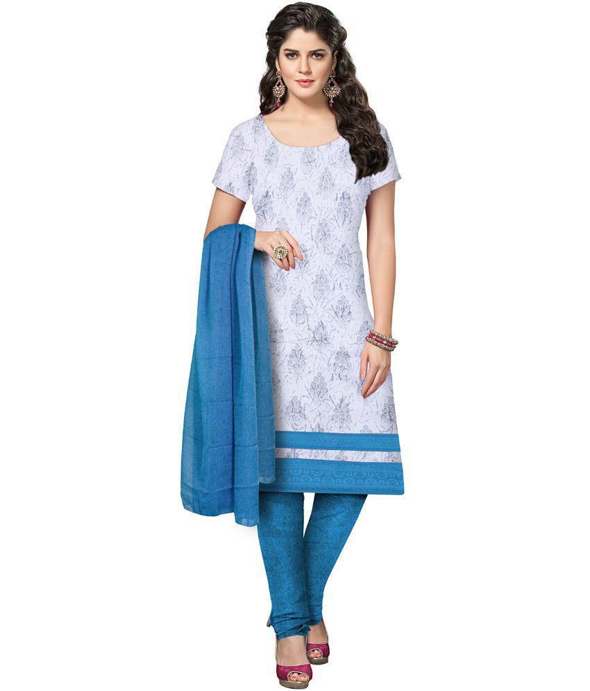 Slassy Blue Cotton Unstitched Dress Material