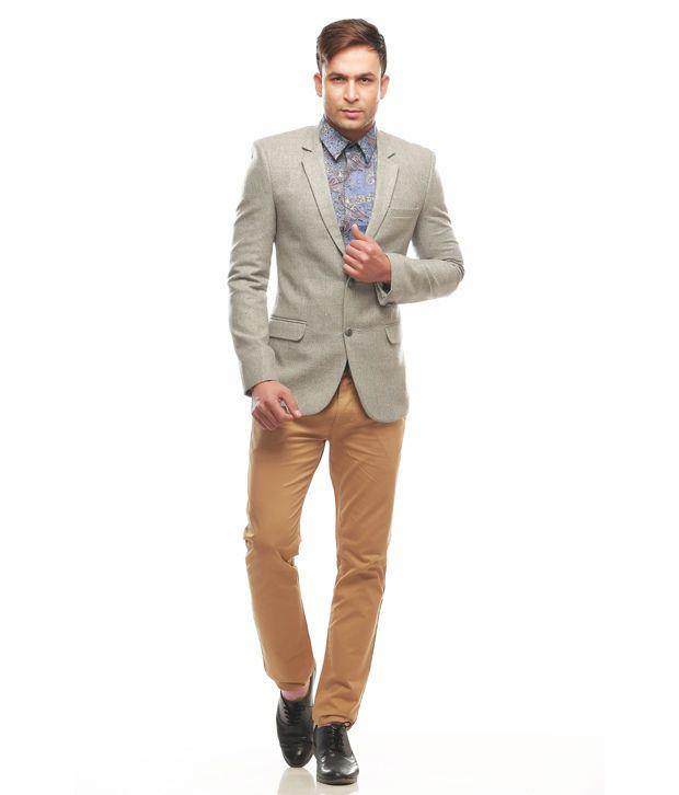 Jogur Gray Cotton Blend Formal Blazer