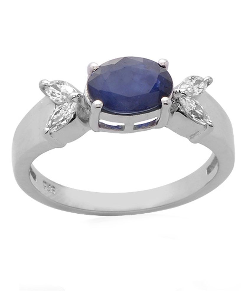 Living Gems Silver Rings Silver Ring With 1.49 Cts Blue Sapphire Ring
