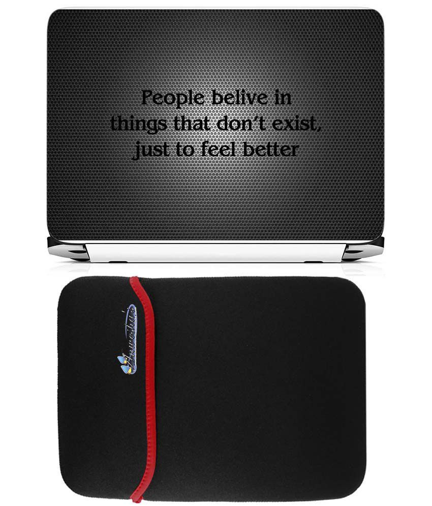 Anwesha's Reversible Laptop Sleeve With Laptop Skin 15.6 Inch - People Believe