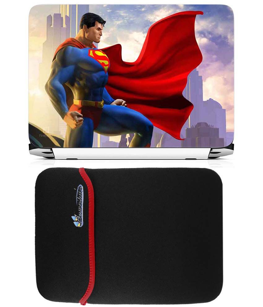 Anwesha's Reversible Laptop Sleeve With Laptop Skin 15.6 Inch - Superman