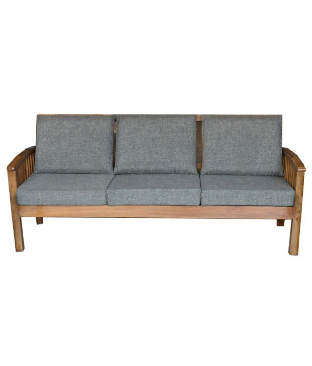 ... 5 Seater Solid Wood Sofa Set With Linen Cushion (3+1+1) ...