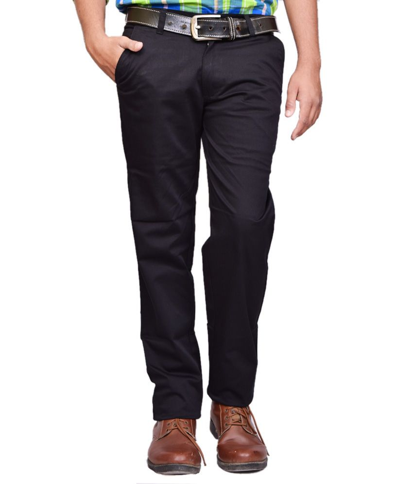 British Terminal Black Cotton Lycra Casual Chinos