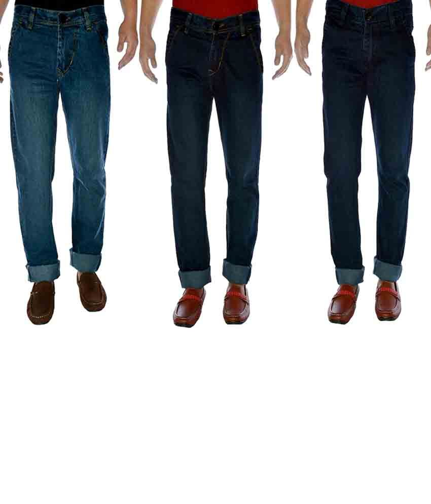 K-san Blue Cotton Regular Fit Jeans - Pack Of 3