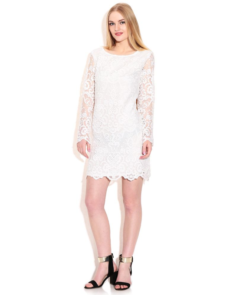 0a25141642f2 Fcuk White Lace Dress - Buy Fcuk White Lace Dress Online at Best ...