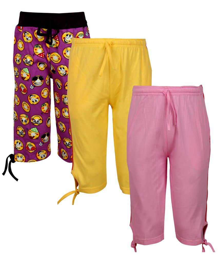 Jazzup Cotton 3/4th Capri For Girls Pack of 3