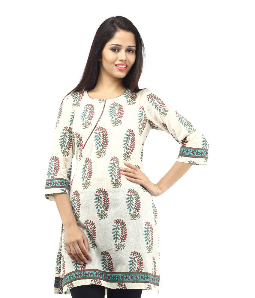 Ethna Ghost White Cotton Designer Kurti