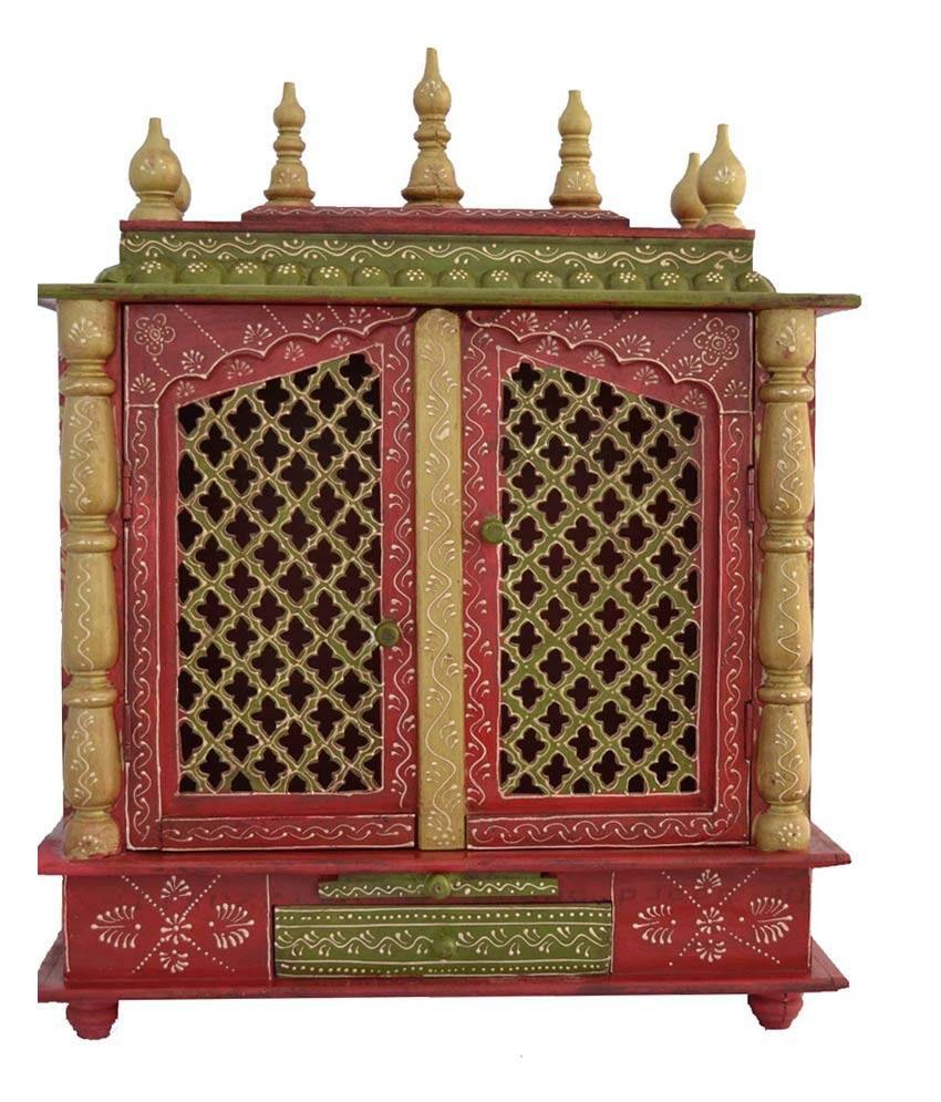 Jodhpur handicrafts red wood hanging mandir buy jodhpur - Wall mounted wooden temple design for home ...