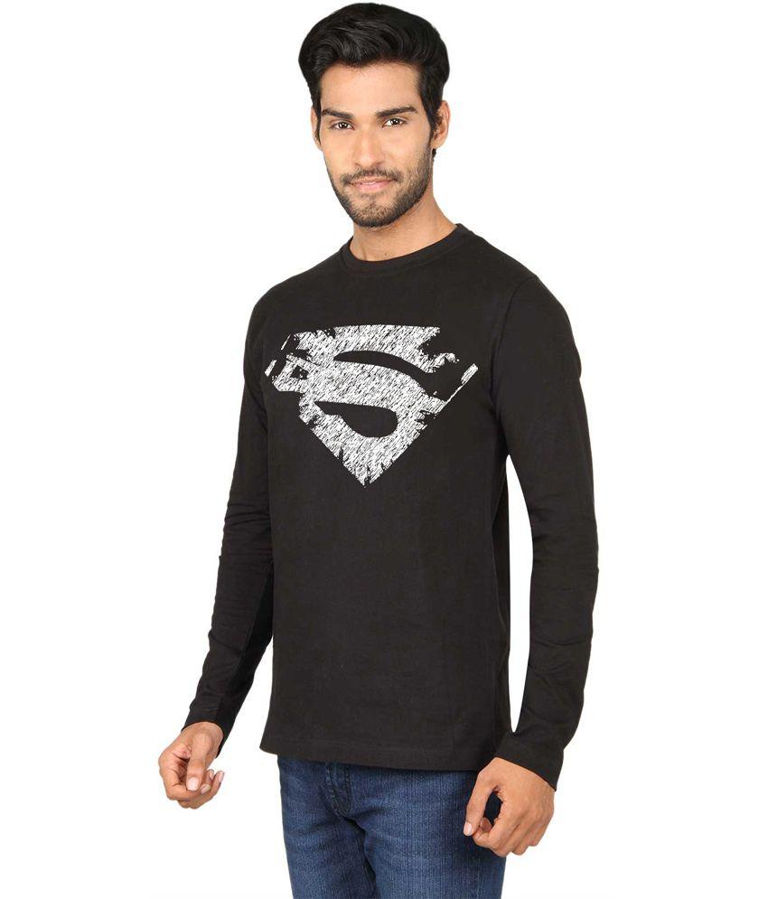 Black t shirt for man -  Sayitloud Black Cotton Round Neck Full Sleeves Man Of Steel Printed T Shirt