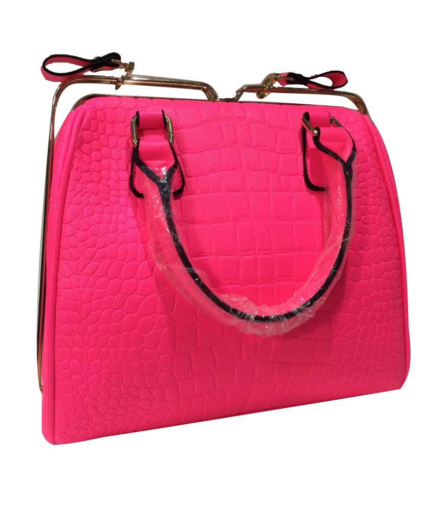 Fashion Koni Pink Leather Shoulder Bag
