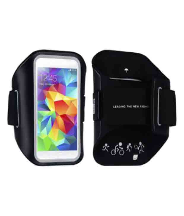 Jo Jo Synthetic Armband Pouch For Samsung I9192 Galaxy S4 Mini With Dual Sim Card Support - Black