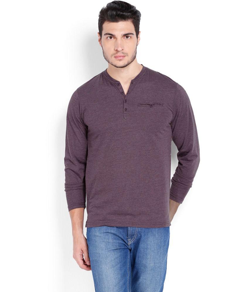 Highlander Purple Cotton Blend Henley T shirt