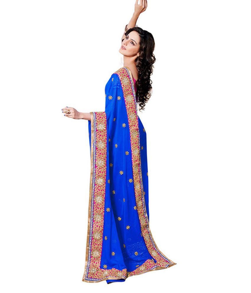 Ambaji Blue Semi Chiffon Saree
