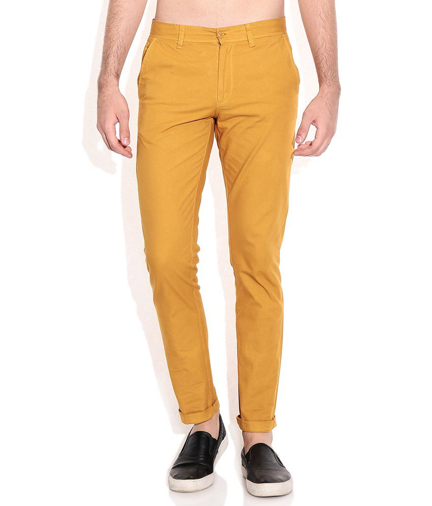 Cherokee Yellow Comfort Fit Casual Trousers
