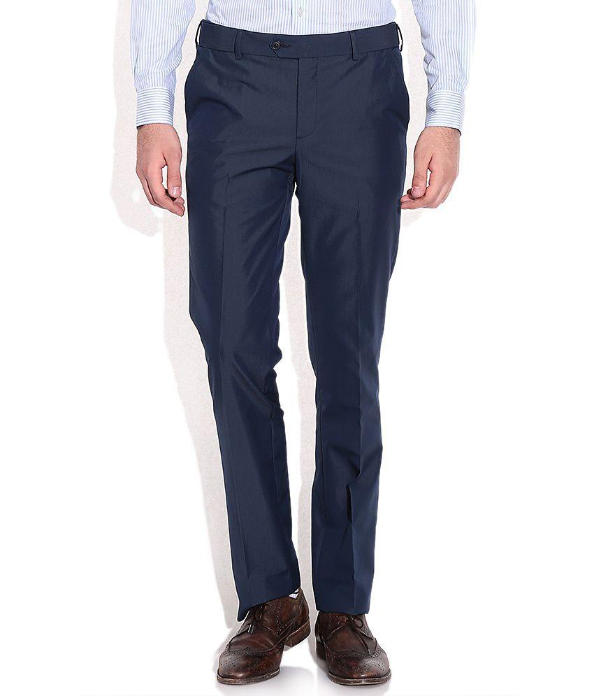 Elitus Navy Slim Fit Formal Trousers