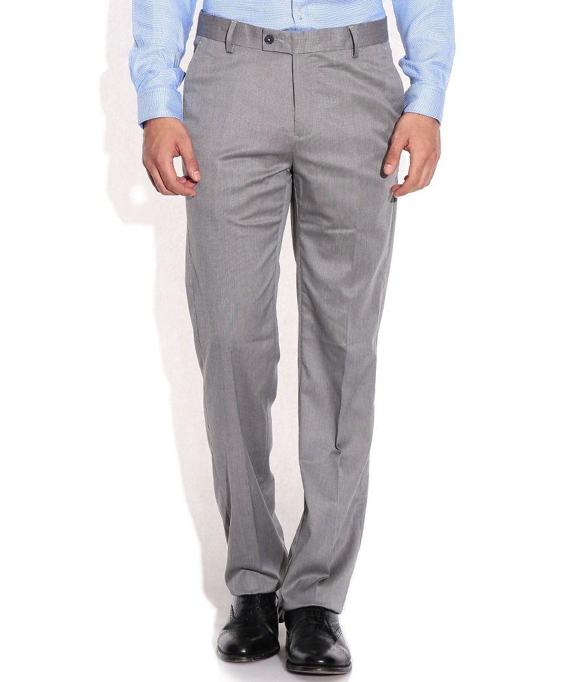 Geoffrey Beene Gray Regular Fit Formal Trousers