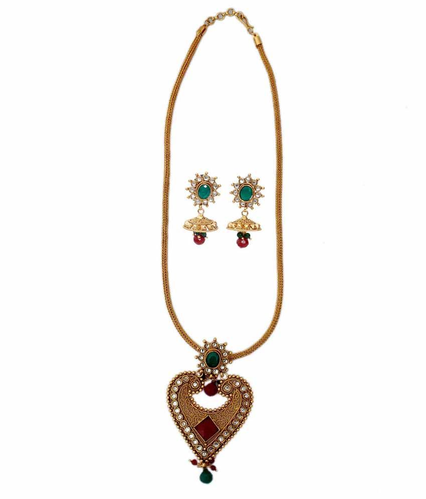 Getjewelified Golden Brass Amazing Heart Shaped Polki Necklace Set