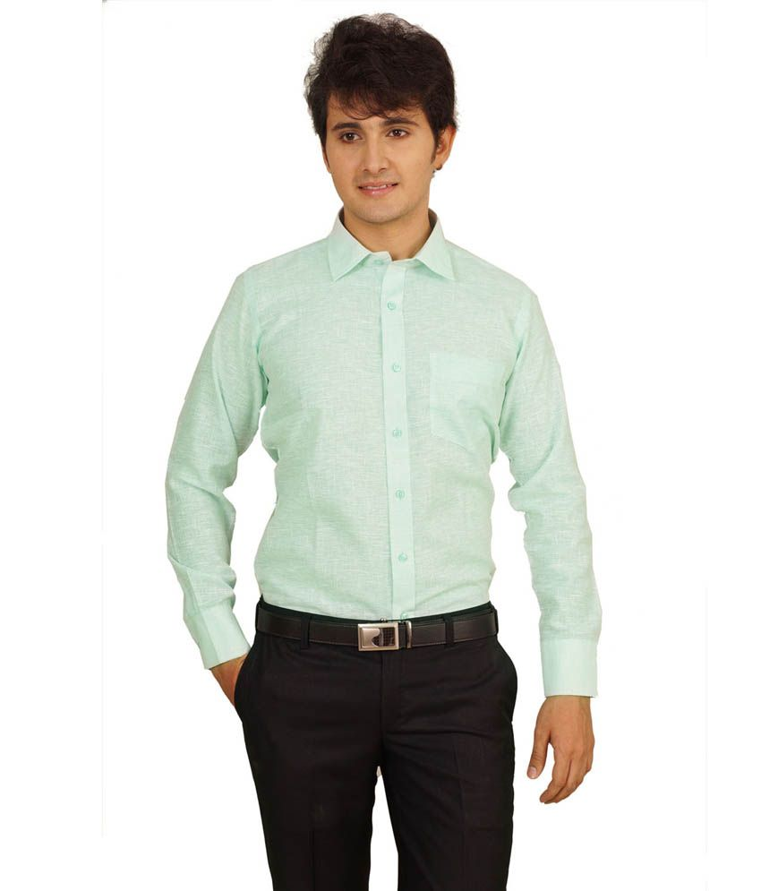 Helg Solid Full Sleeves Light Pista Linen Formal Shirt Buy Helg