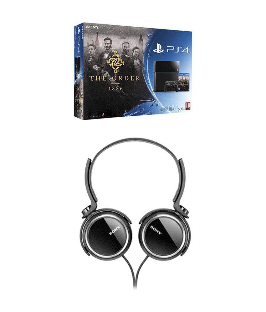 Sony Playstation 4 (PS4) 500 GB with Order 1886 Bundle with Sony MDR-XB250/BQIN Over Ear Headphones (Black)