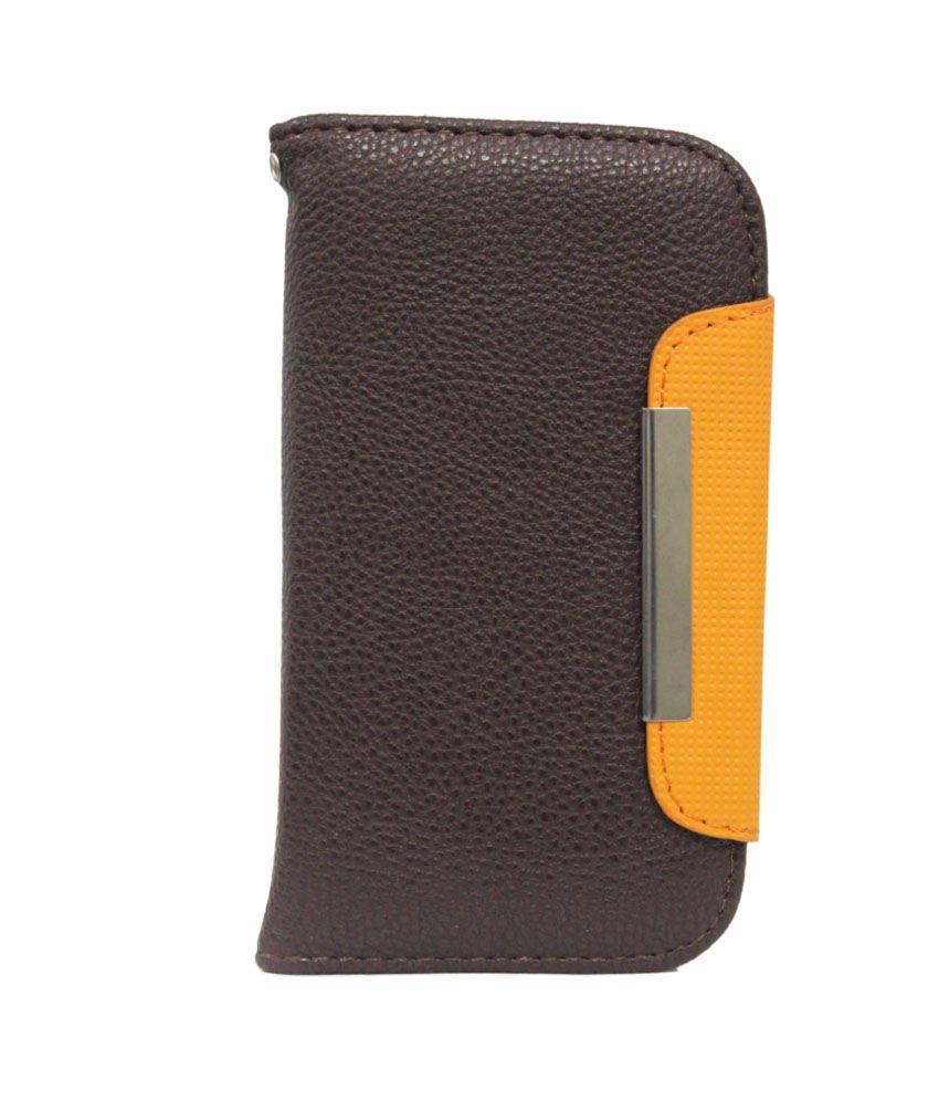 Jo Jo Z Flip Case Cover For HTC Sensation Xe - Brown And Orange