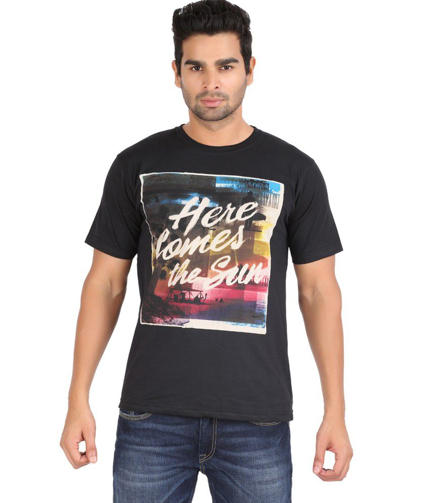 Zovogue Here Comes the Sun Black Printed Men's Round Neck T-Shirt