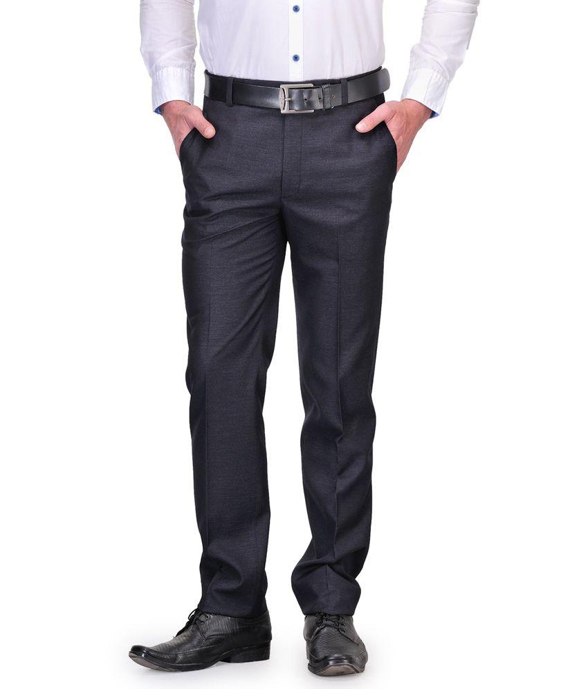Debello Navy Poly Viscose Flat Formal Trouser