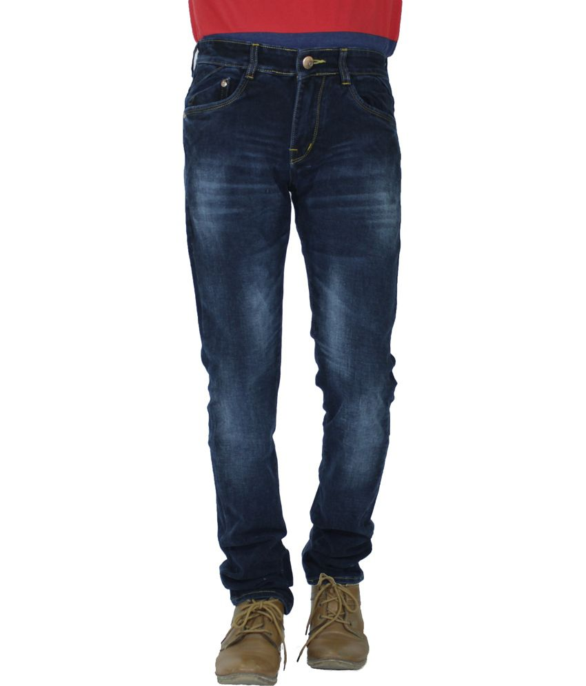 Flying Port Blue Cotton Blend Slim Fit Designer Jeans