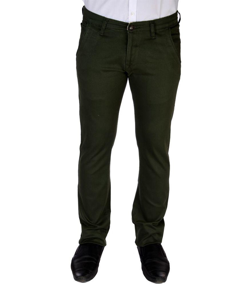 Jargon Fashion Green Cotton Slim fit Formal Trouser
