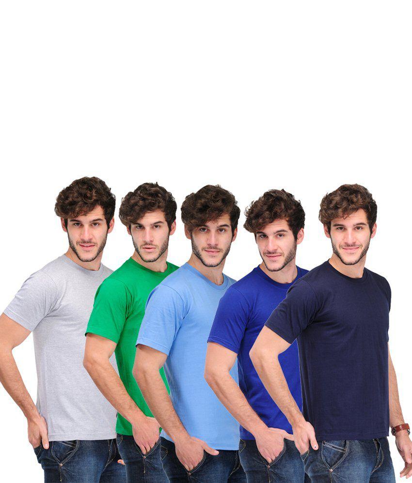 TSX Combo Of 5 Multi-Coloured Basic T Shirts