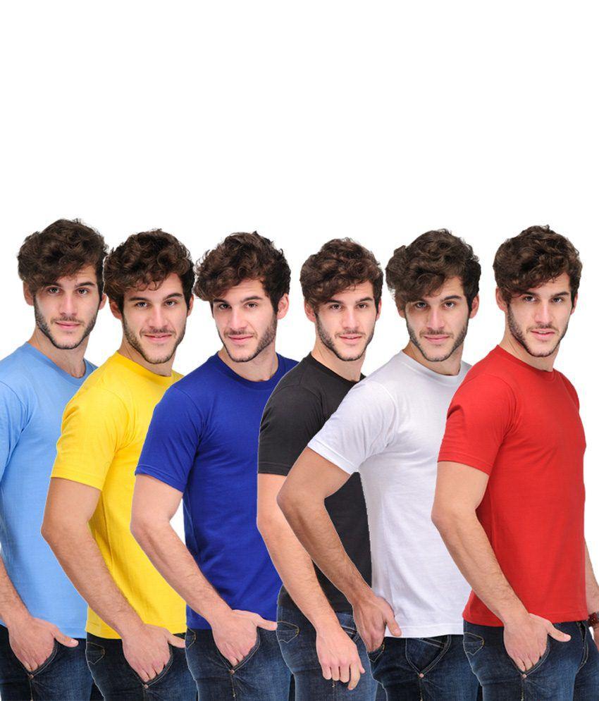 TSX Combo Of 6 Multi-Coloured Basic T Shirts