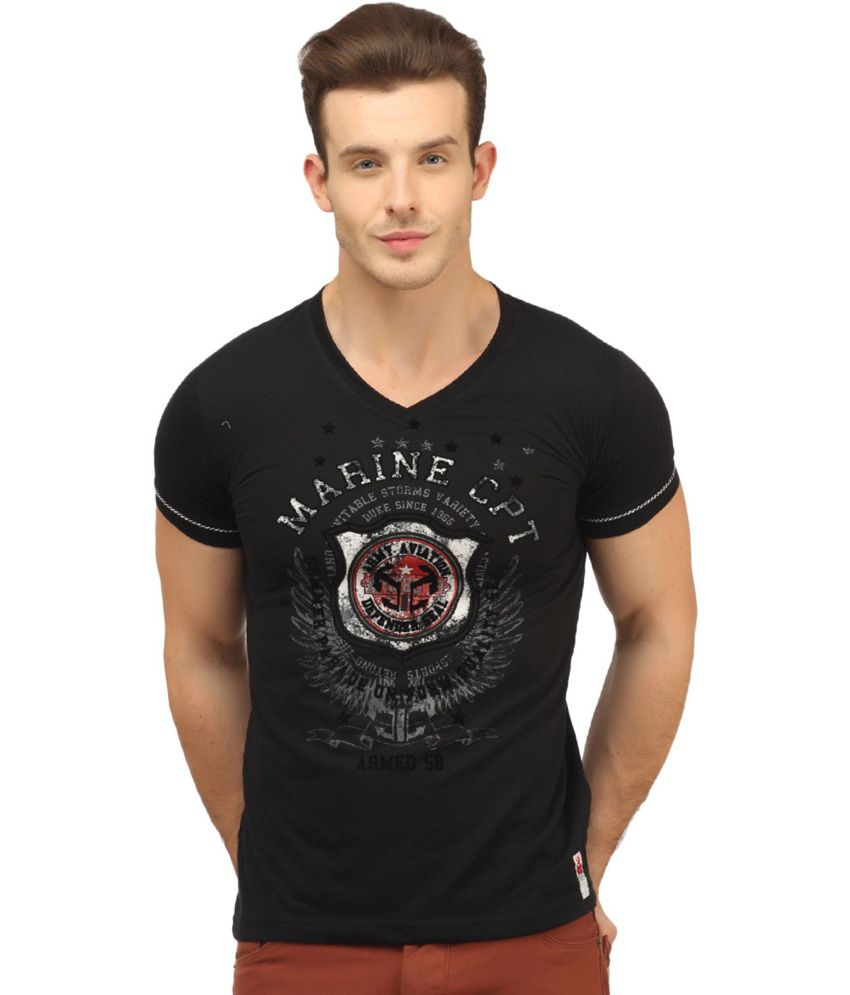 Duke Black Cotton V-neck Shirt