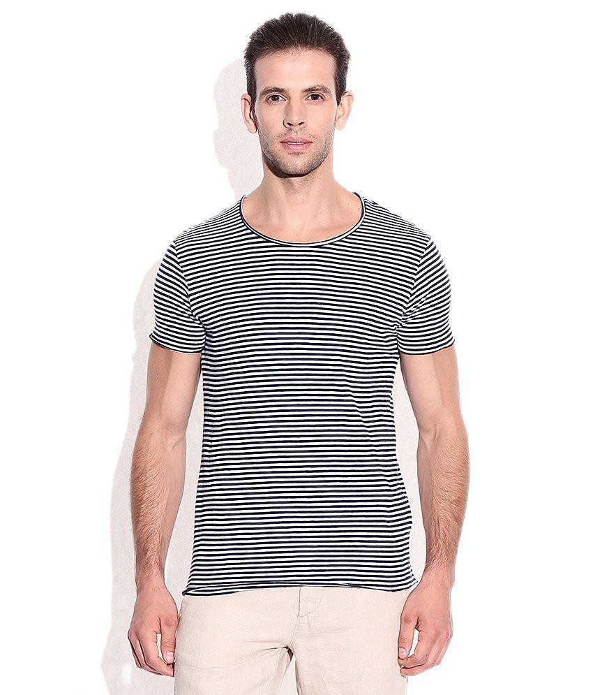 Jack & Jones White & Black Cotton Round Neck T-Shirt