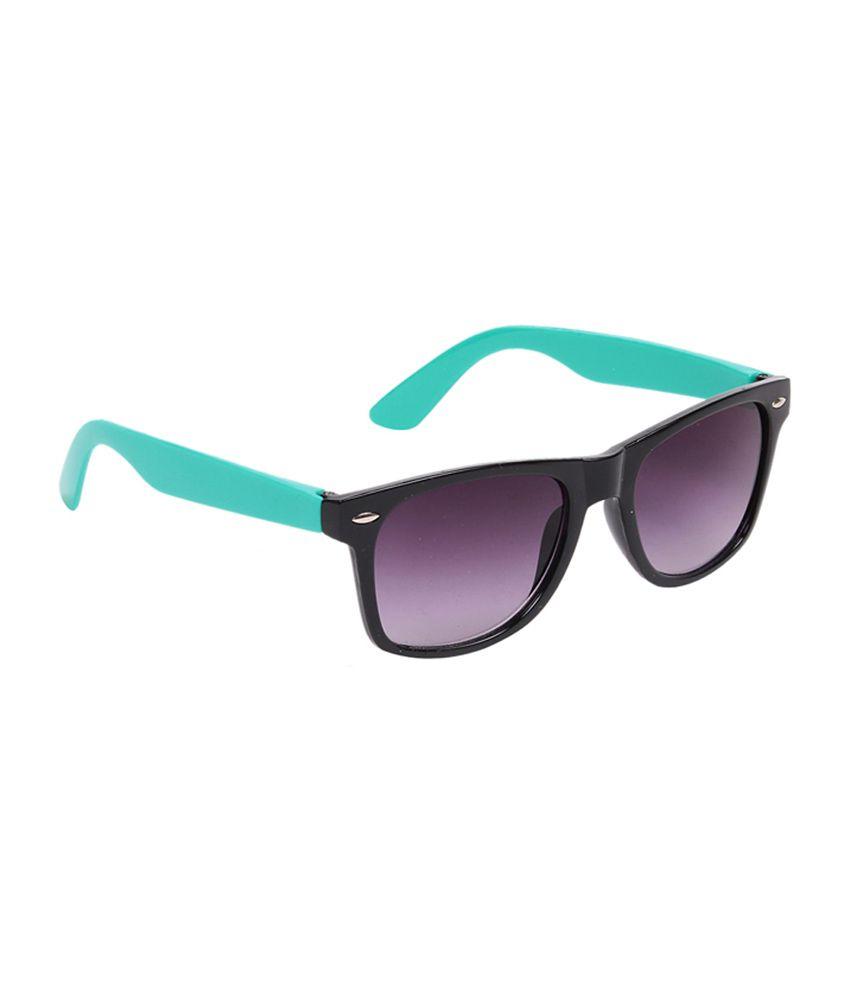 Porus Club Black & Green Side Shine Shade Wayfarer Premium Sunglasses
