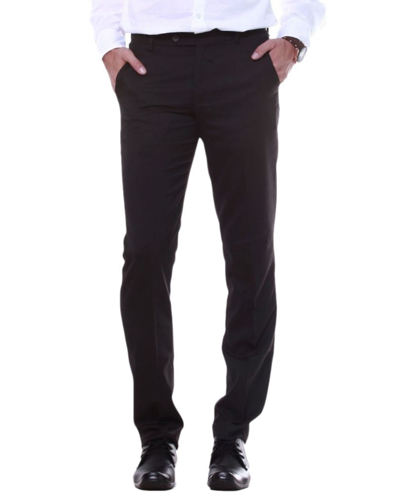 Sangam Apparels Brown Slim Fit Poly Viscose Formal Trouser