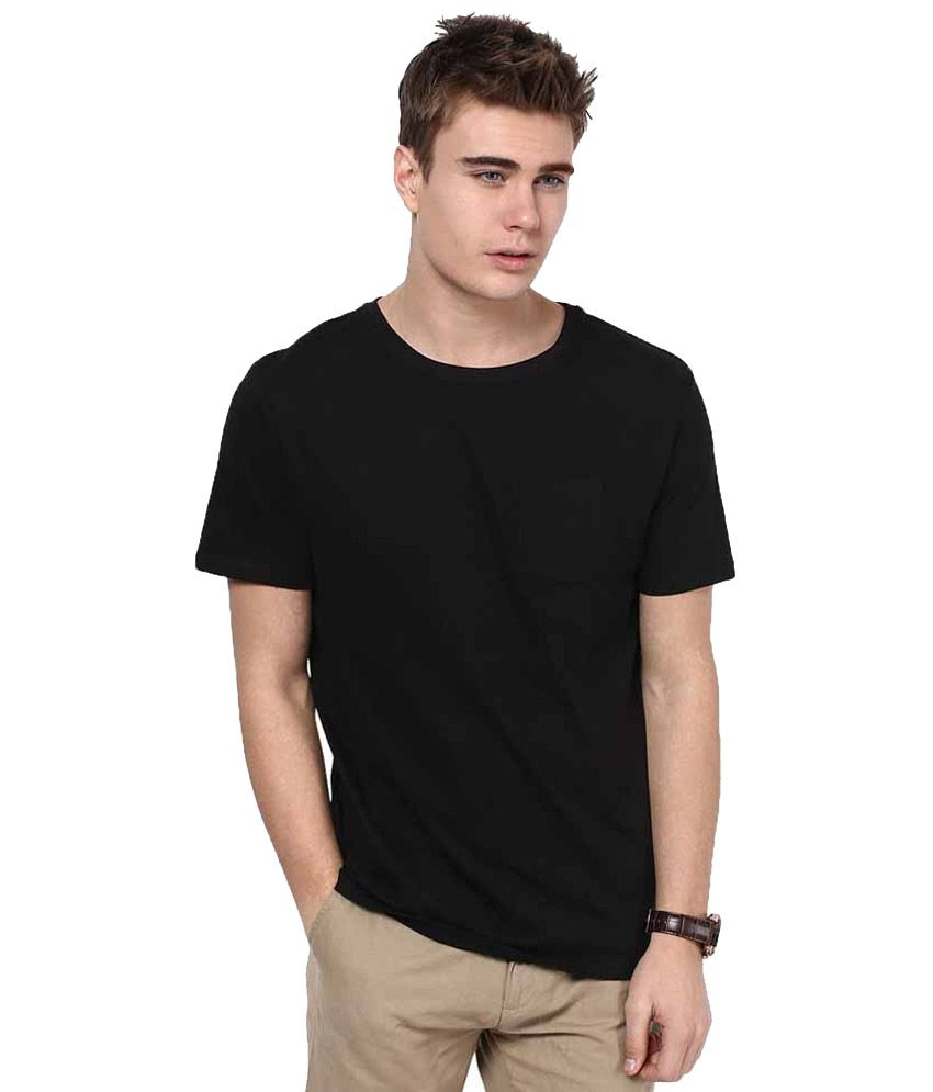 Srisa Impex Black Cotton Round Neck Plain T-Shirt