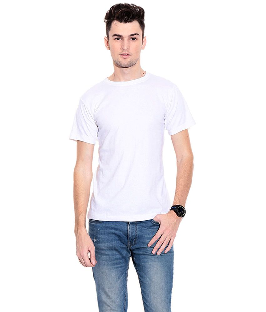 Srisa Impex White Cotton Round Neck Plain T-Shirt