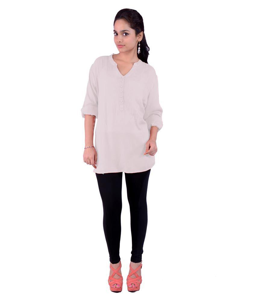 Kanchan Silk And Sarees White Poly Rayon Plain V-neck Kurti