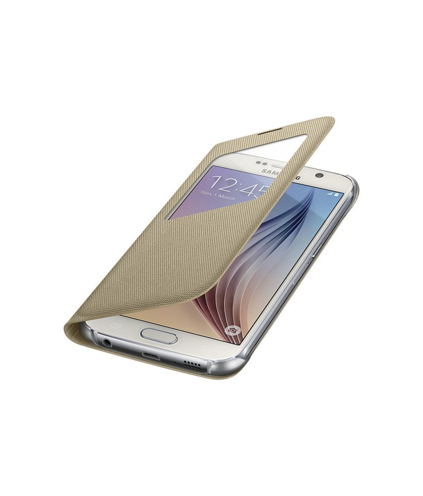 super popular 84bbd 9a057 Samsung S View Cover for Samsung Galaxy S6 (Fabric) - Gold