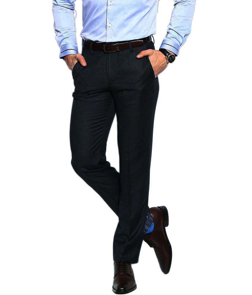 Ad & Av Black Fine Woolen Blend Premium Trouser
