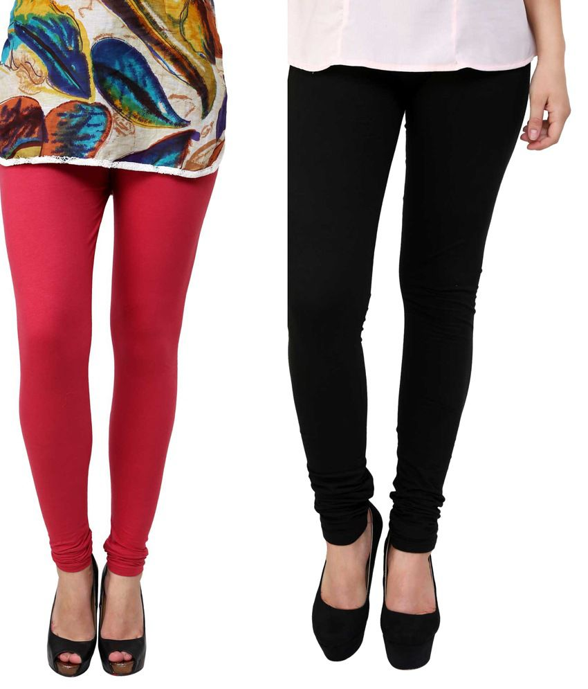 Anekaant Women's Cotton Lycra Combo Leggings Pack of Two - Red & Black