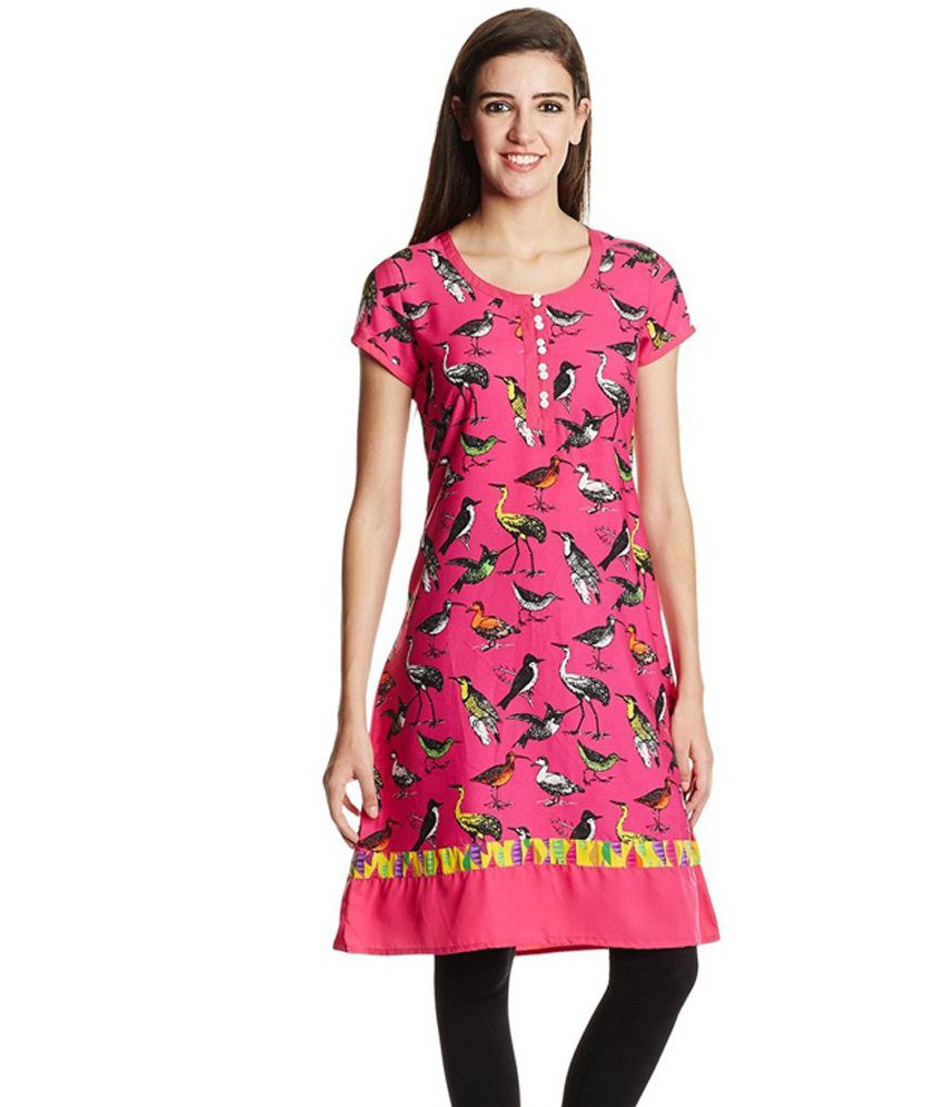 Juniper Pink Printed Polyester Round Neck Half Medium Kurti
