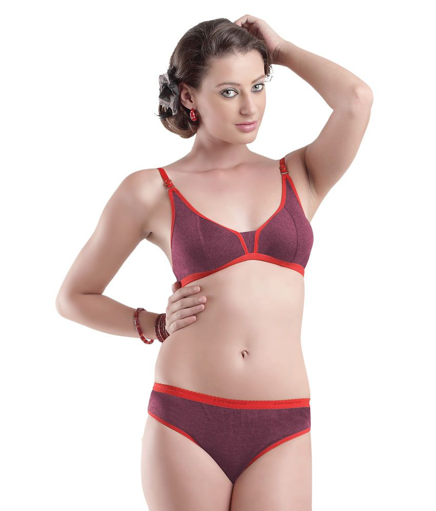 13c9e358c0 Buy Simoni Maroon Cotton Bra   Panty Sets Online at Best Prices in India -  Snapdeal