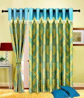 Home Sazz Aqua Leaves Set Of 2 Fancy Long Door Curtains (9 Feet) - Blue