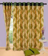 Home Sazz Green Leaves Set Of 2 Fancy Door Curtains (7 Feet) - Green