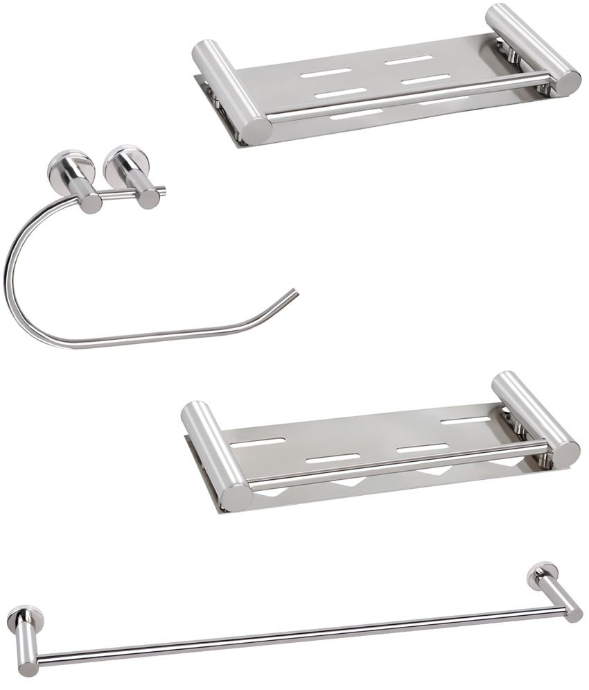 Doyours Glossy Stainless Steel 4 Pieces Bathroom Accessories Set