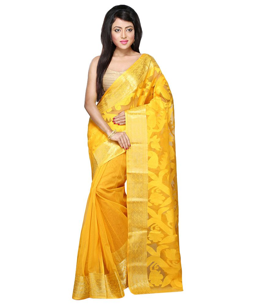 Handloom Tant Saree Yellow Cotton Bengal Tant Saree
